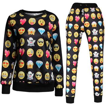 Women Emoji Sweatpant Joggers Black And White Emoji Clothes Clothes Fashion Pants