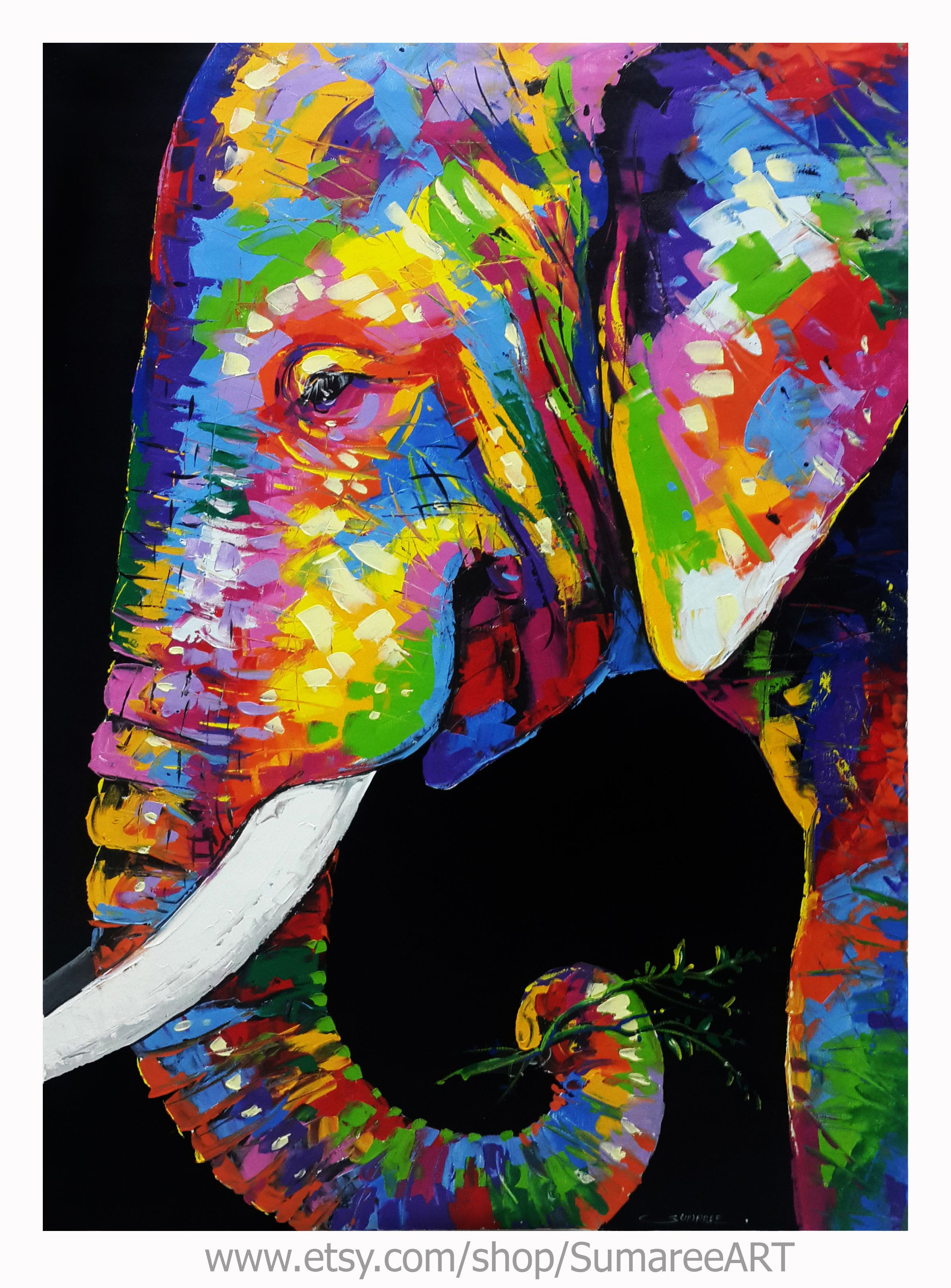 Colorful Elephant Painting on canvas in 2021 | Elephant ...