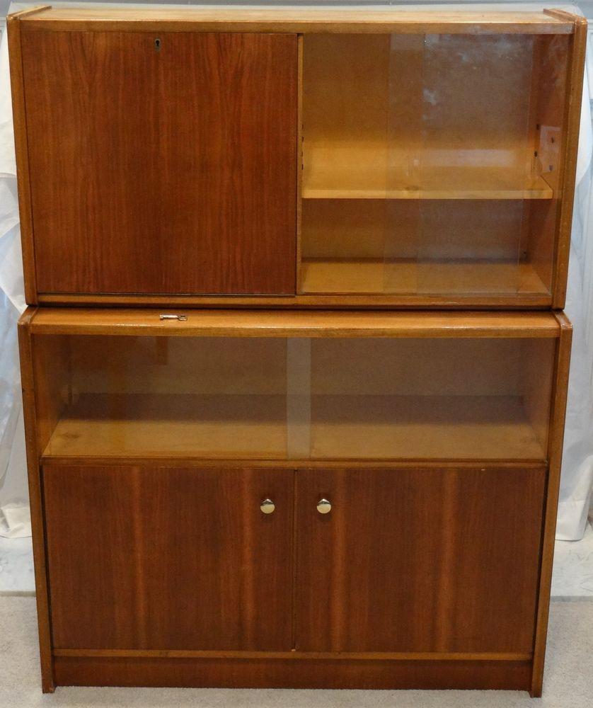 walnut mid century modern 2 pc bar locking liquor cabinet glass doors
