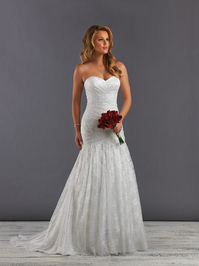 Soft Lightweight And Slightly Shimmery Lace Destination Wedding Dress Fit Flare Style