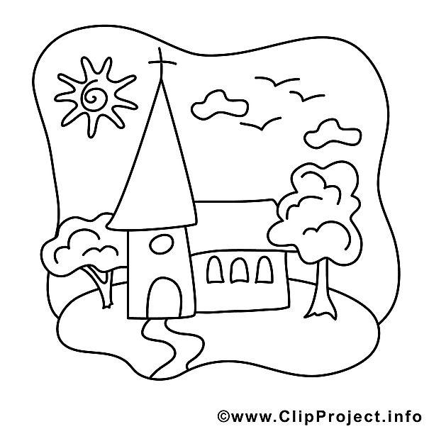 Kirche Bild - Kommunion Bilder zum Ausmalen und Ausdrucken ...