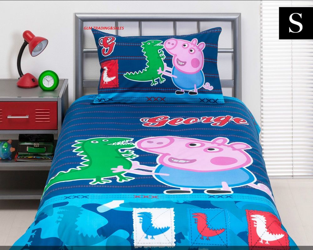 Single Bed Peppa Pig George Licenced Quilt Cover Set Doona