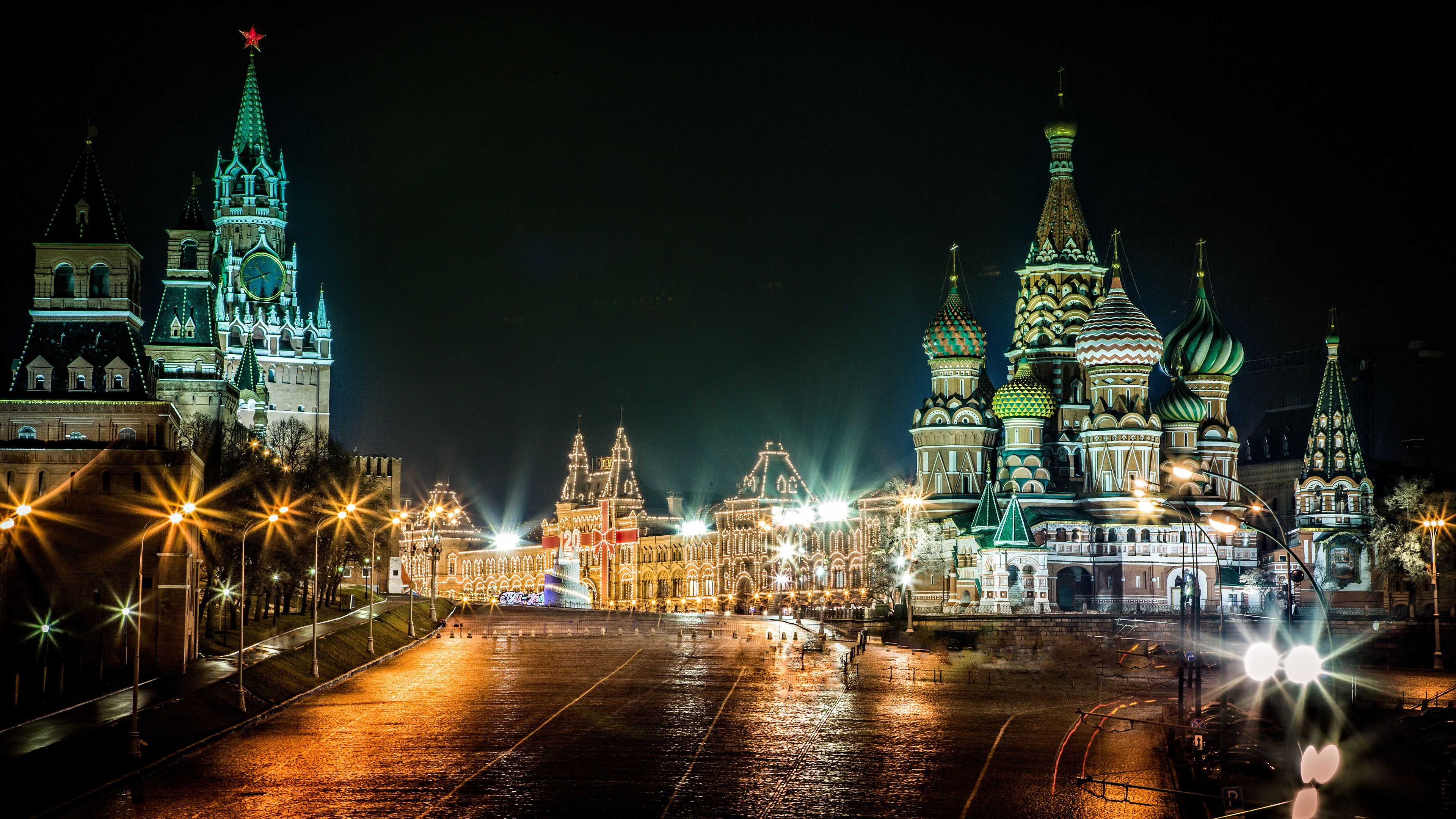 Red Square By Night Moscow Russia Widescreen Wallpaper Wide
