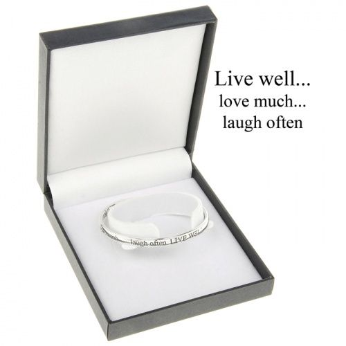 "Equilibrium Silver Plated Bangle - ""Live Well.. love much..laugh often"""