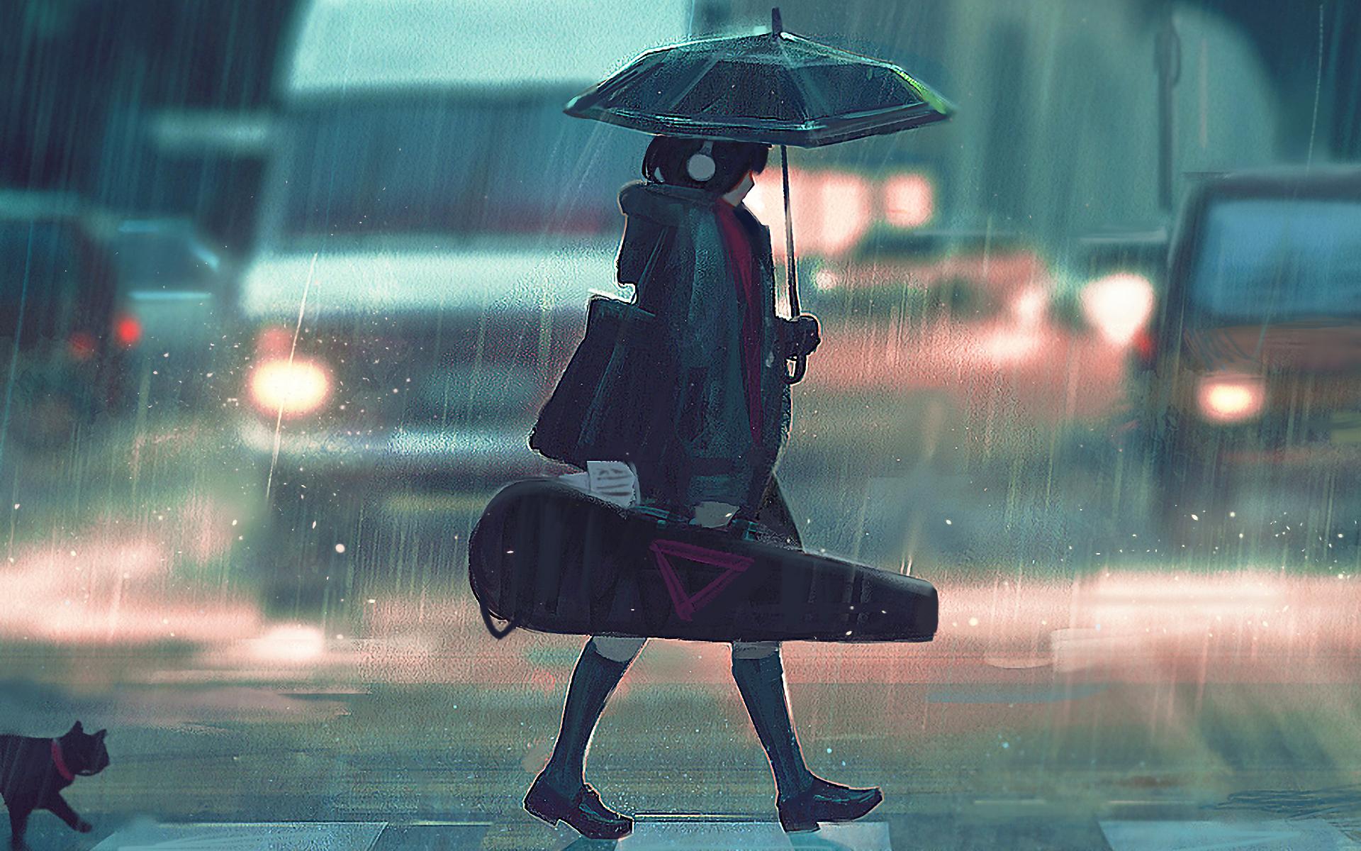 Фото аниме под дождем