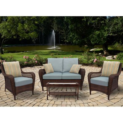 Brookshire 4 Piece Resin Wicker Patio Seating Set   Blue