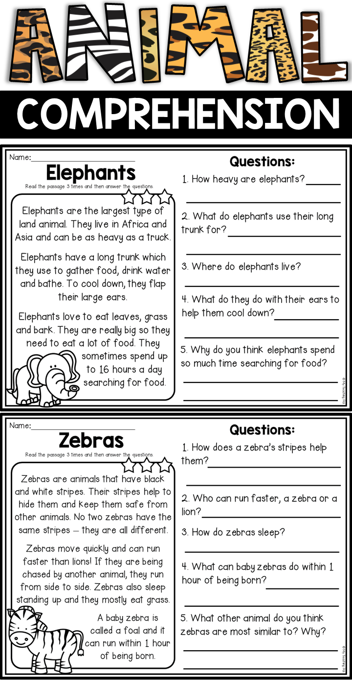 - Animal Reading Comprehension Passages Reading Comprehension