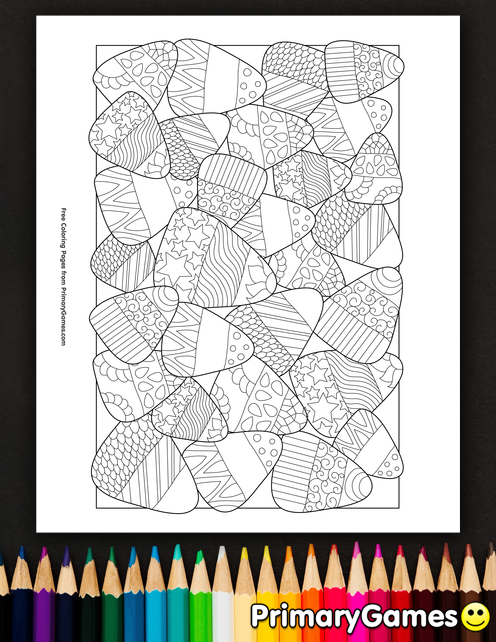 Candy Corn Coloring Page • FREE Printable eBook