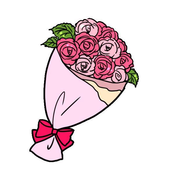 バラの花束のイラスト лес バラの花束 花束 バラ イラスト
