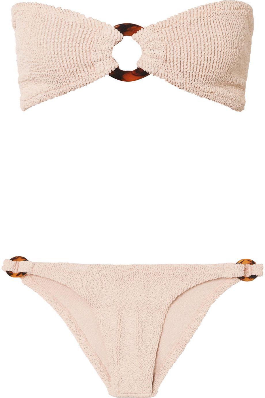 f6834d07b9 HUNZA G | Gloria embellished seersucker bandeau bikini | NET-A-PORTER.COM