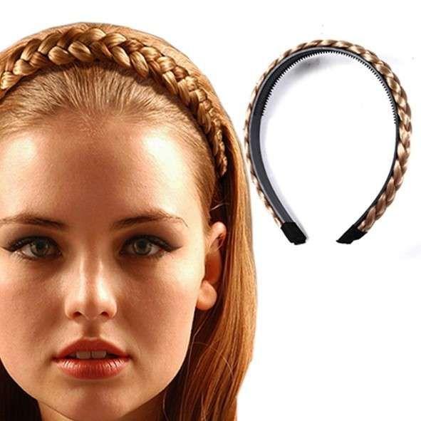 Cerchietto con treccia finta Trecce capelli Trecce Capelli corti