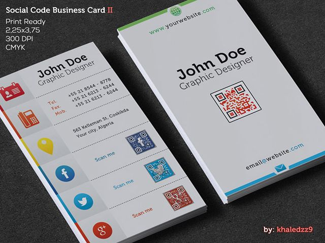 Beautiful vertical social code business card template with embedded     Beautiful vertical social code business card template with embedded QR code   This is premium design available for download from Graphicriver