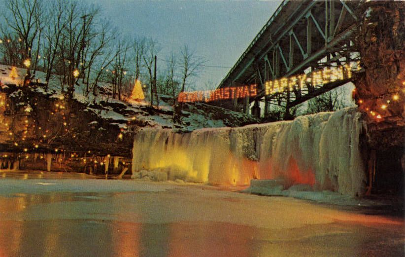 An Old Postcard With The Lighting Of The Falls That I Never Got To See Ohio Attractions Ludlow Dayton Ohio