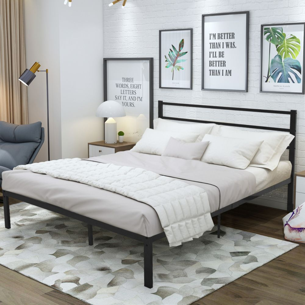 Platform Twin Xl Bed Frame King With Headboard In 2020 Black Bed Frame Bed Frame And Headboard Queen Size Bed Frames