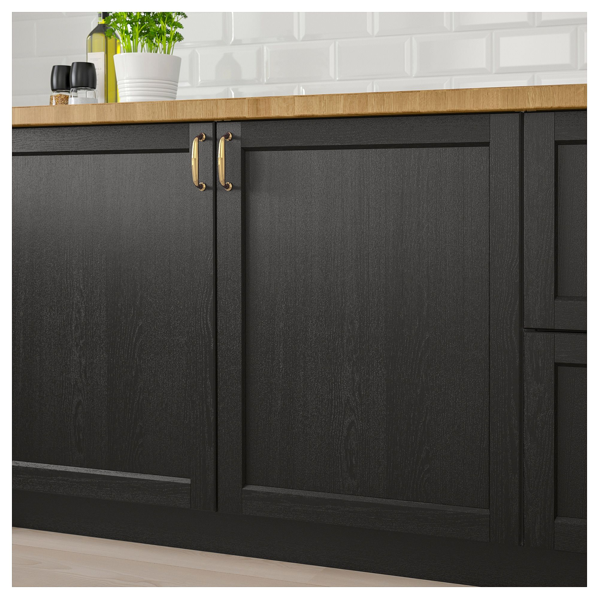 Lerhyttan 2 P Door Corner Base Cabinet Set Black Stained 13x30 Ikea In 2020 Kitchen Cabinet Remodel Black Kitchens Kitchen Renovation