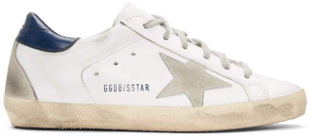 Golden Goose White and Navy Superstar