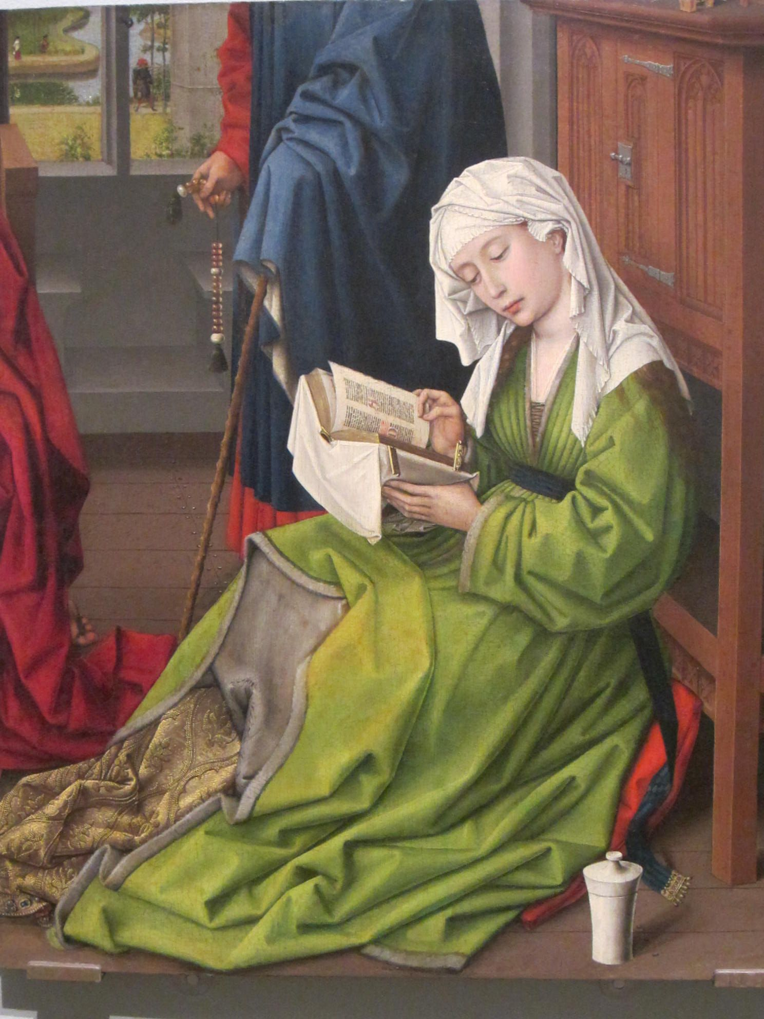 Rogier van der Weyden, Maria Magdalena Reading. Also a figure with a Paternoster in his hand