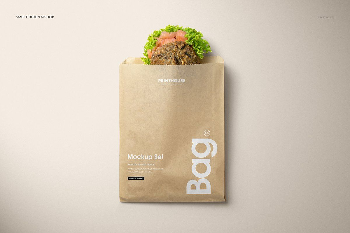Download Sandwich Snack Paper Bag Mockup Set Bag Mockup Luxury Paper Bag Paper Bag