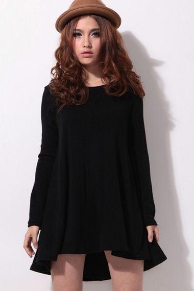 00cc1fc7397d Super Cute Black Long Sleeve Loose Fitting Dress  lbd  fashion