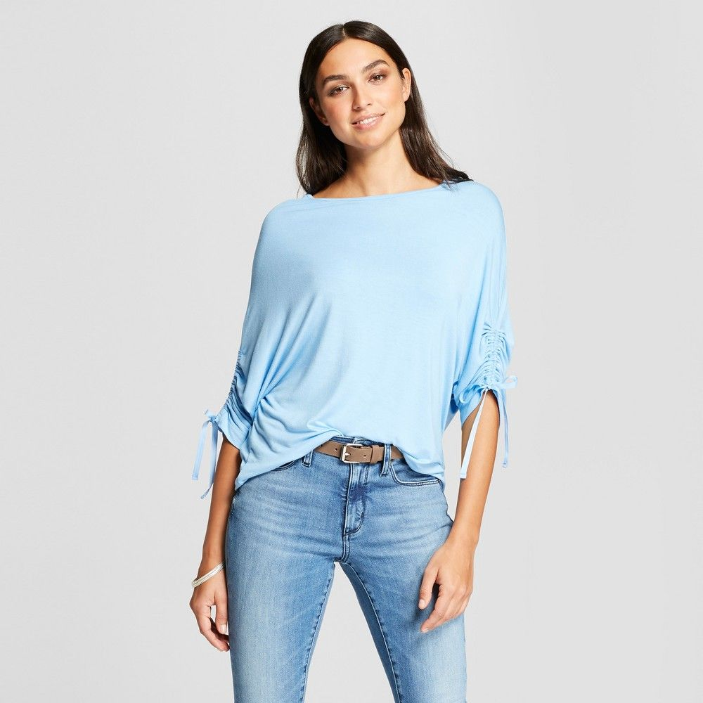 02042fd9720 Women s 3 4 Sleeve Drawstring Off the Shoulder Blouse - Alison Andrews Blue  L
