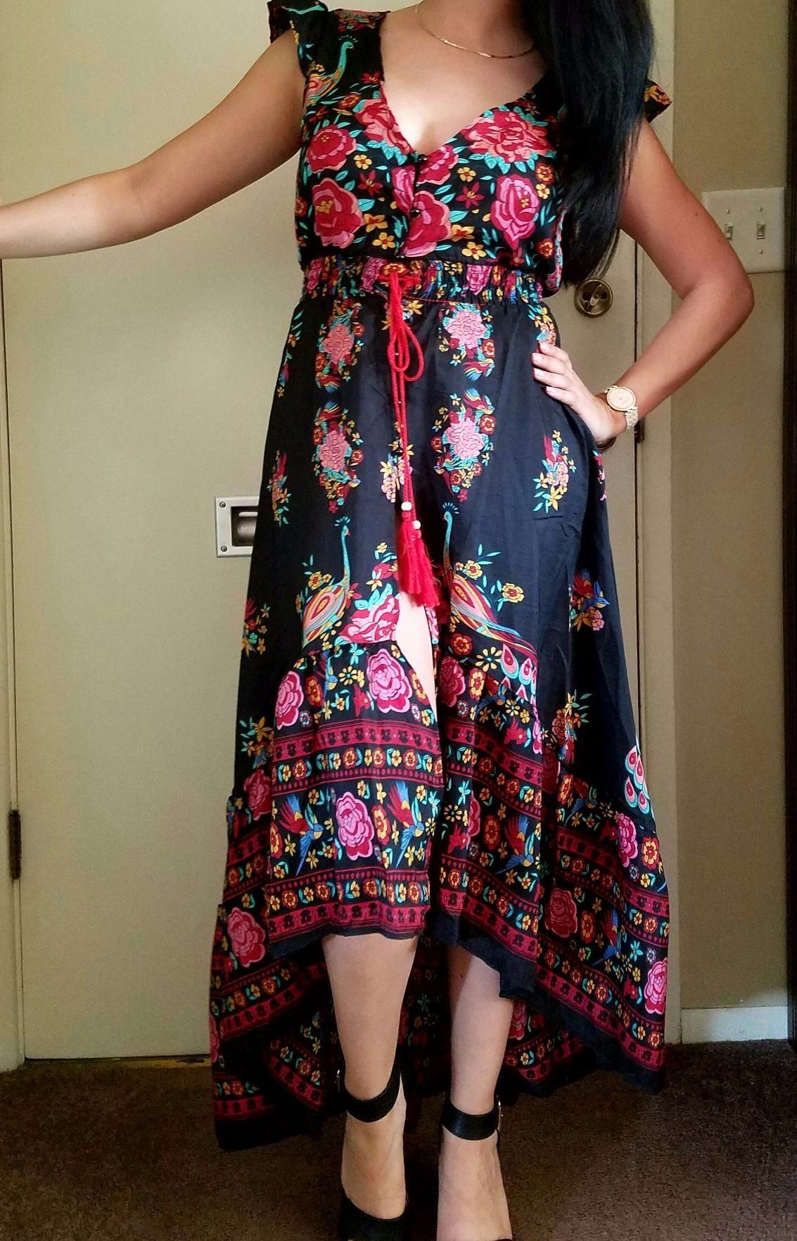 609bf9091b47d R.Vivimos Women Summer Vintage Floral Print Deep V Neck High Low Long  Dresses at Amazon Women's Clothing store: