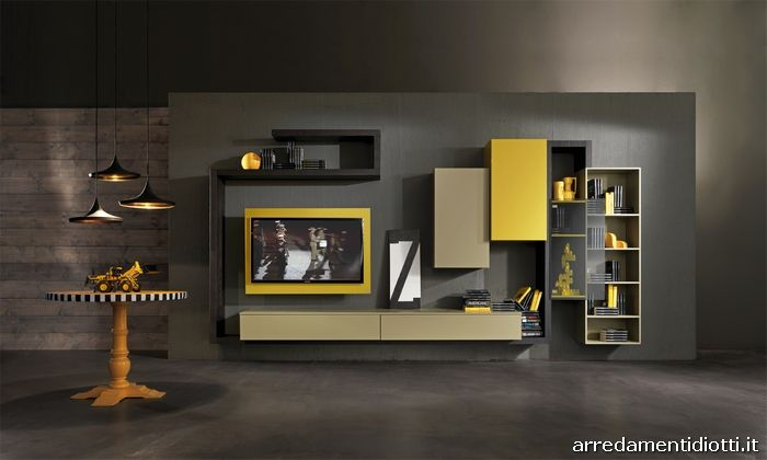 Soggiorno con porta tv rack orientabile Creative side ...