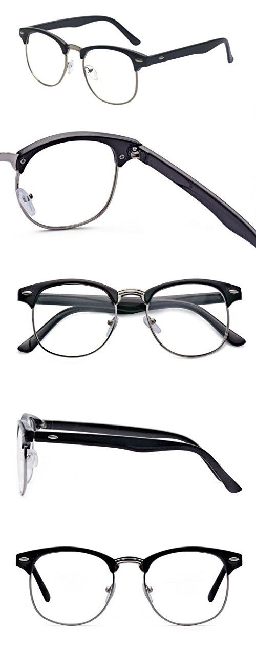 45b63a6c25c9 Outray Vintage Retro Classic Half Frame Horn Rimmed Clear Lens Glasses  2135c2 Black Silver