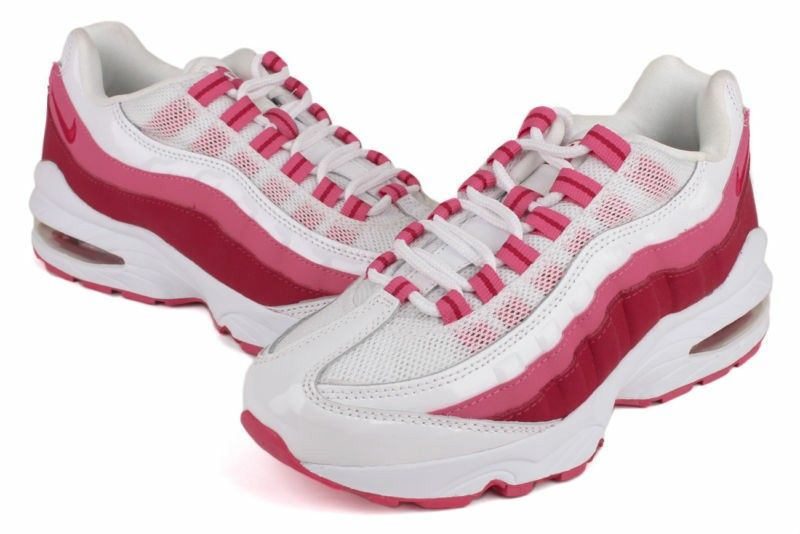 new style 66101 addf1 Nike Air Max 95 LE 310830 100 New Kids Youth GS White Carmine Spark Running  Shoe    Via Ebay