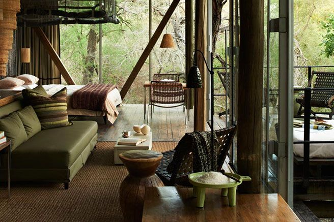 Kruger National Park, South Africa- A remote landscape surrounded by cheetahs, rhinos, and elephants. Singita Sweni Lodge, tucked into the trees of the 33,000-acre national park on the border of Mozambique, is the ideal setting to cuddle up on a safari getaway. Glass-walled suites with luxe tree-house feel—no screens, TV or otherwise, to ruin the view or interrupt your time together.