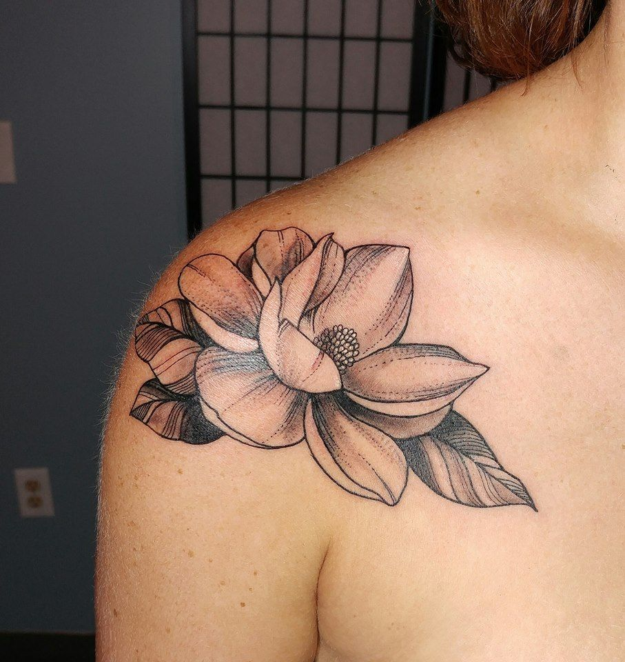 Magnolia Flower Tattoo By Siobhan Alexander Magnolia Tattoo Flower Tattoo Shoulder Tattoos