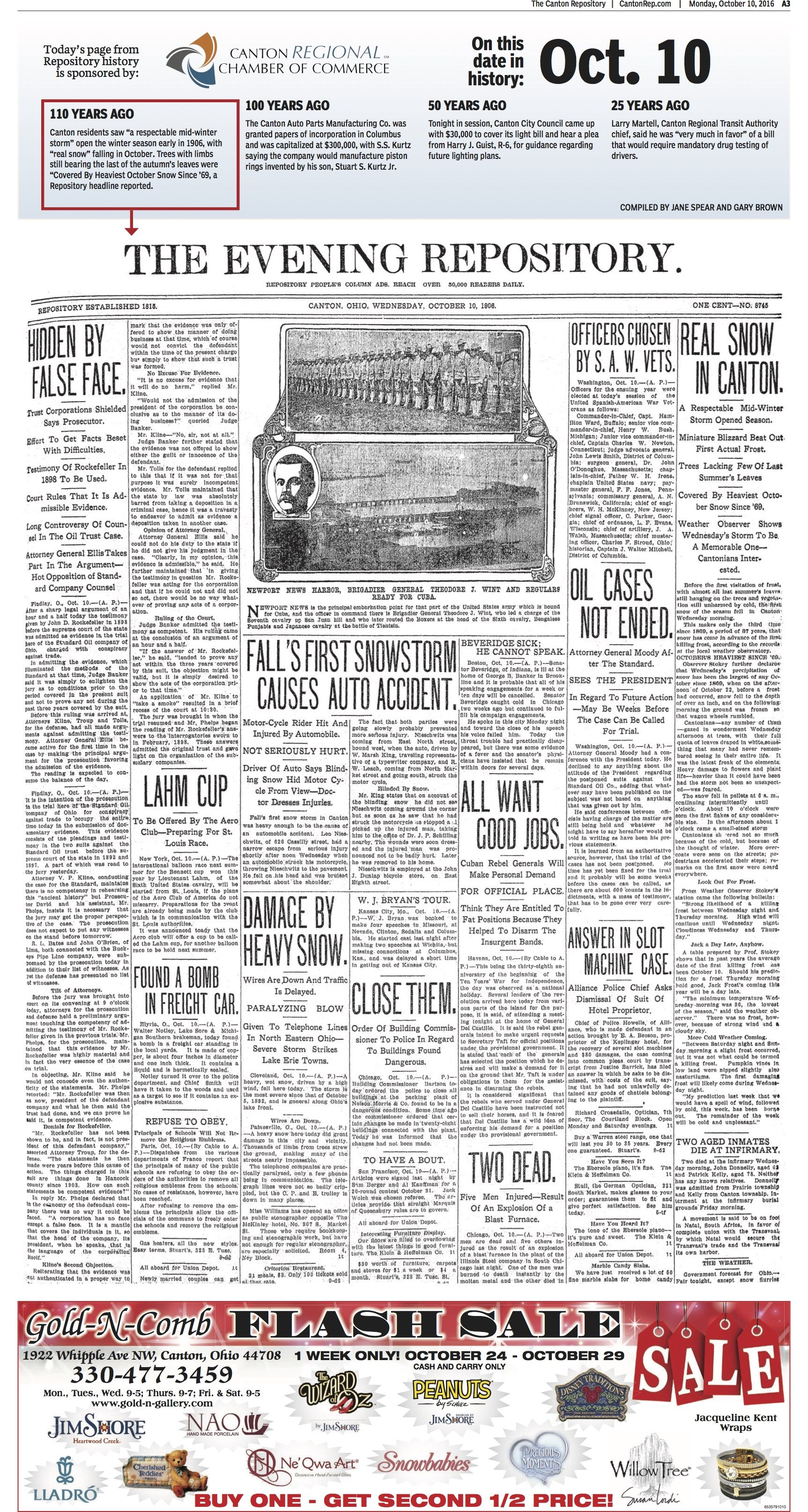 An early snowstorm hit Stark County as reported in The Repository on October 10, 1906.