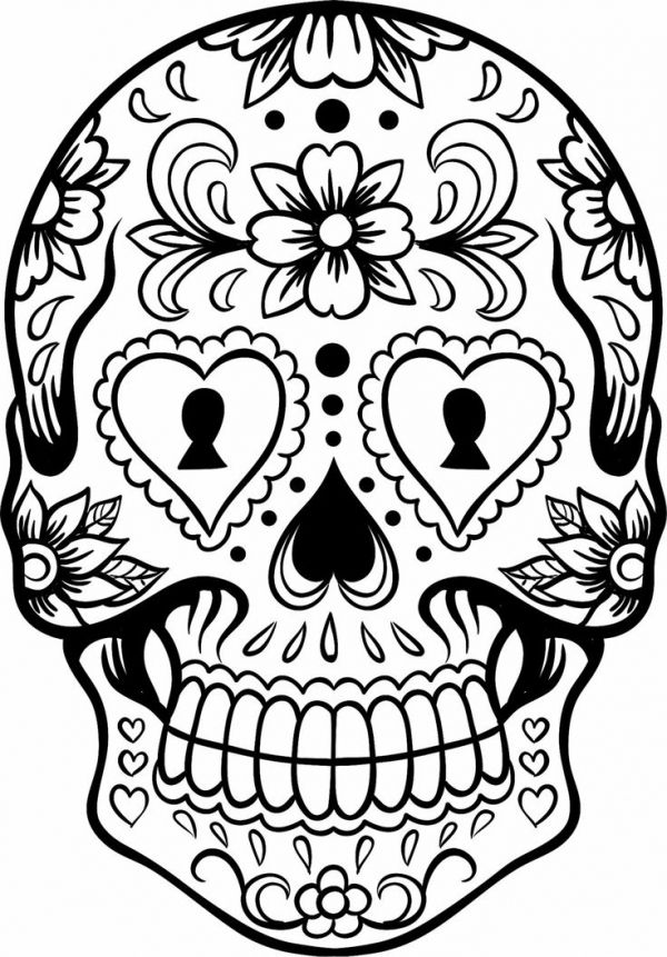 Sugar Skull Girl Coloring Sheet For Dia De Los Muertos