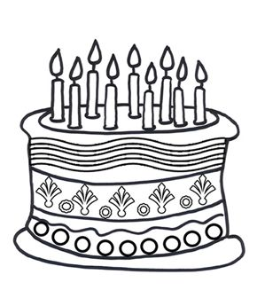 free online birthday cake colouring page kids activity sheets birthday colouring pages - Colouring Ins