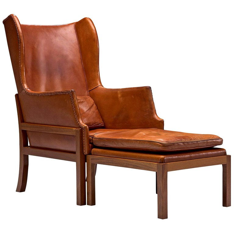 Best Mogens Koch Lounge Chair Wingback Cognac Danish 400 x 300