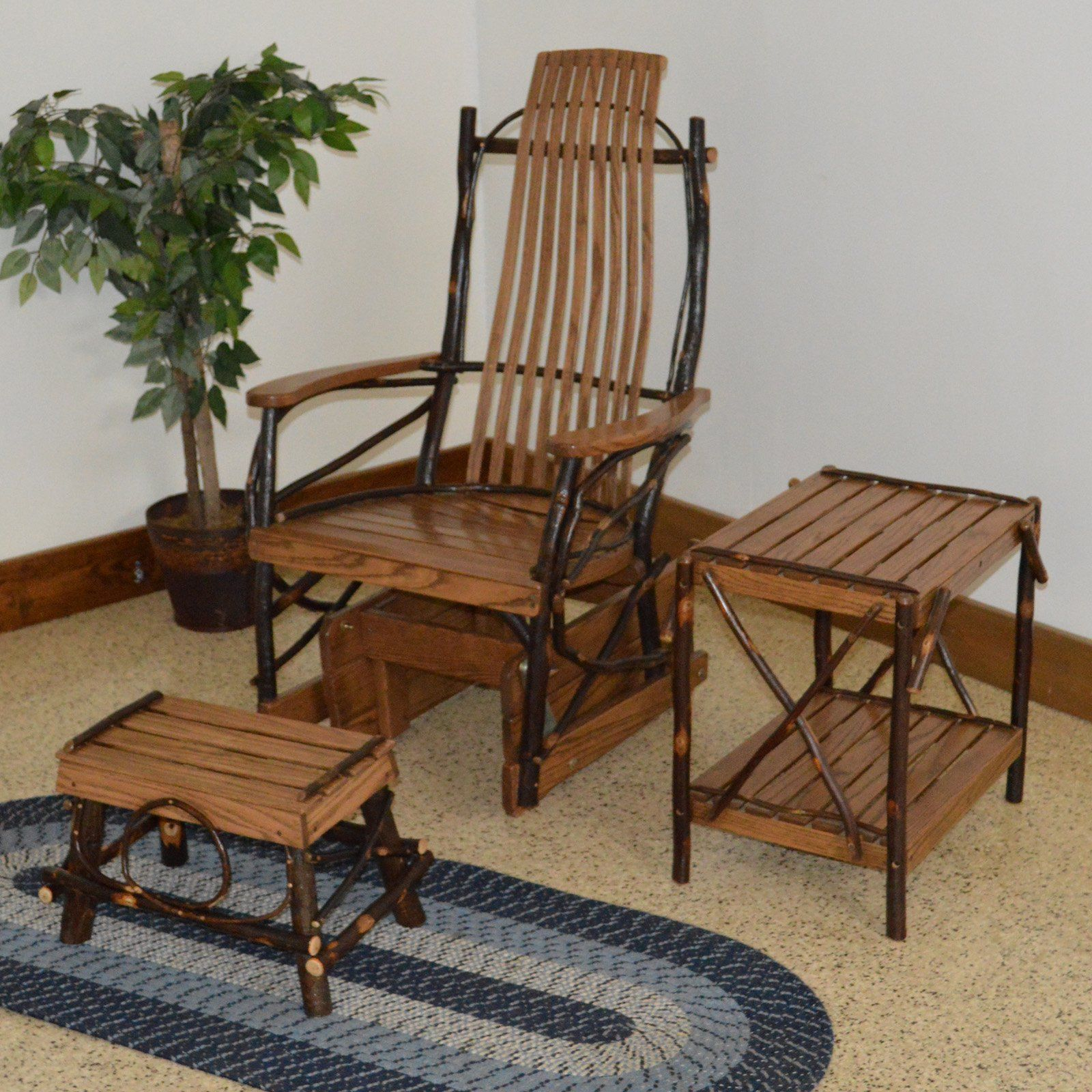Garden Furniture Near Me For Sale: A & L Furniture Hickory 3 Piece Patio Glider And End Table