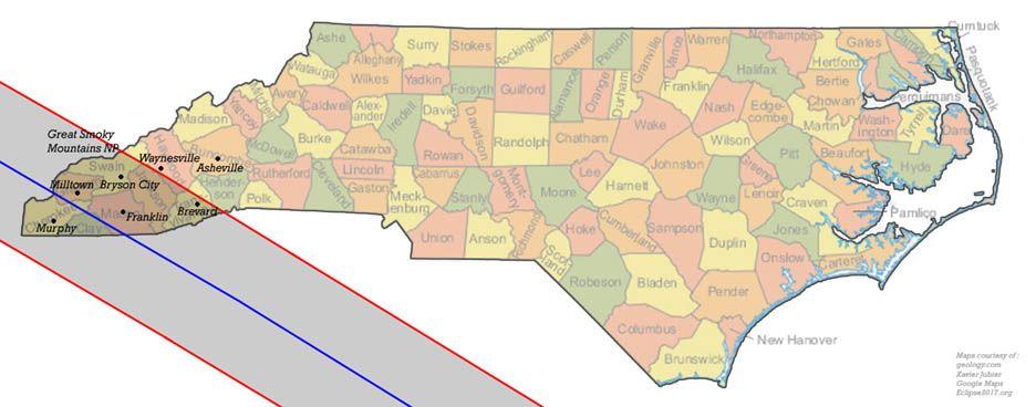 Total Solar Eclipse 2017 Communities In North Carolina Eclipse