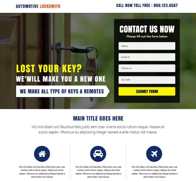 Automotive Locksmith Service Landing Page, design a landing page ...