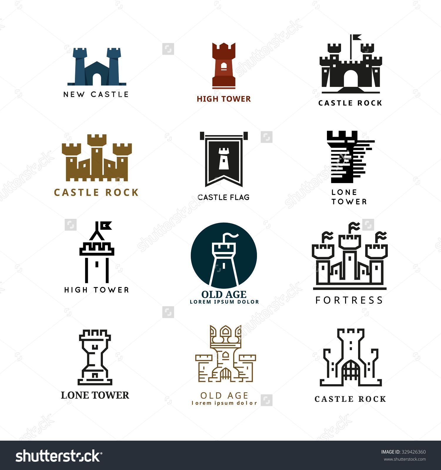 Castle, fortress vector logo set. Tower architecture icon