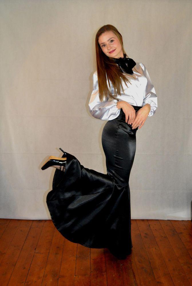 Details about White Satin Bow Blouse | Satin, Bow blouse ...