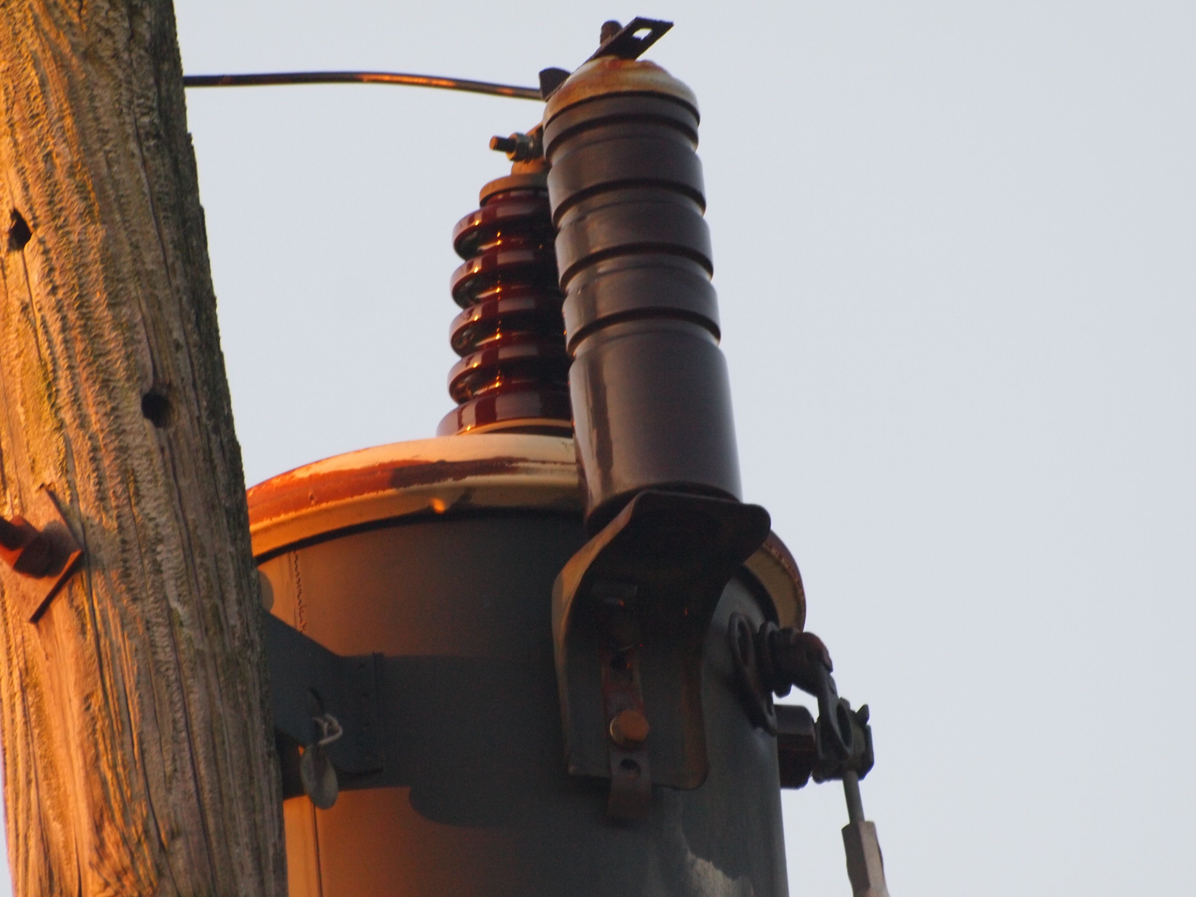 hight resolution of our electric transformer the line men say this type is so old they rarely come across them any more it will fry a squirrel knocking the electric here
