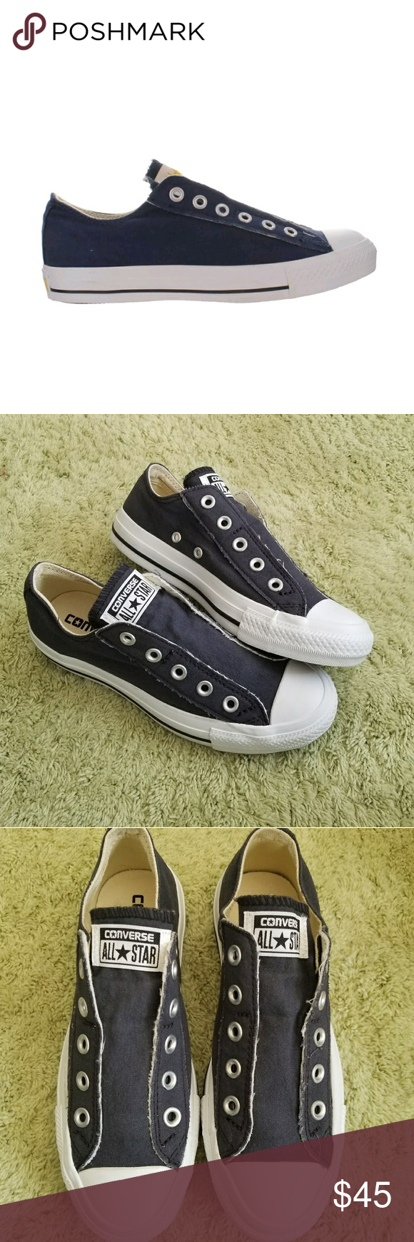 e013fd49848b8b Converse Ox All Star Navy Blue No Lace Low Tops New without box Converse  All Star Ox Slip On Sneakers No laces Navy blue Canvas upper