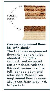 Illustration of how veneer thicknesses vary in engineered hardwood flooring   Taunton's Inspired House