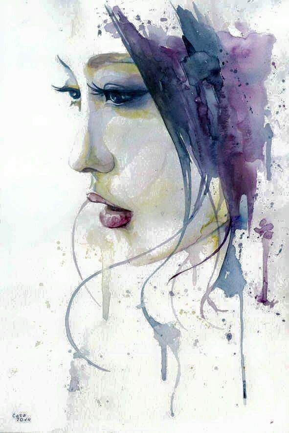 Watercolor Art Woman S Profile Watercolor Art Face Portrait Art