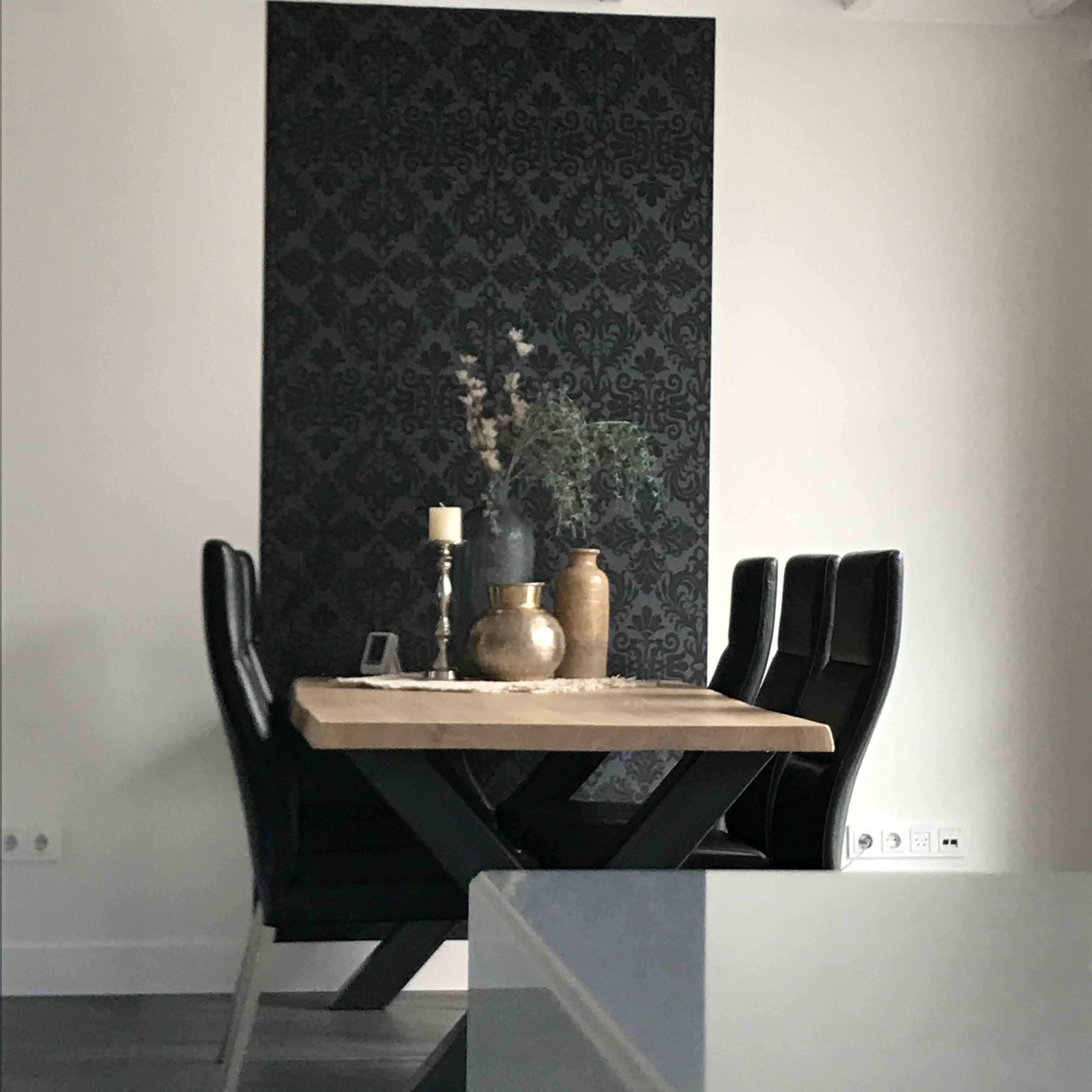 Roozen Interieur Visie Strook Velvet Antraciet Behang Eiken Hout Metaal Set Accessoires Woonshoppen Thuisdecoratie Interieur Decoraties