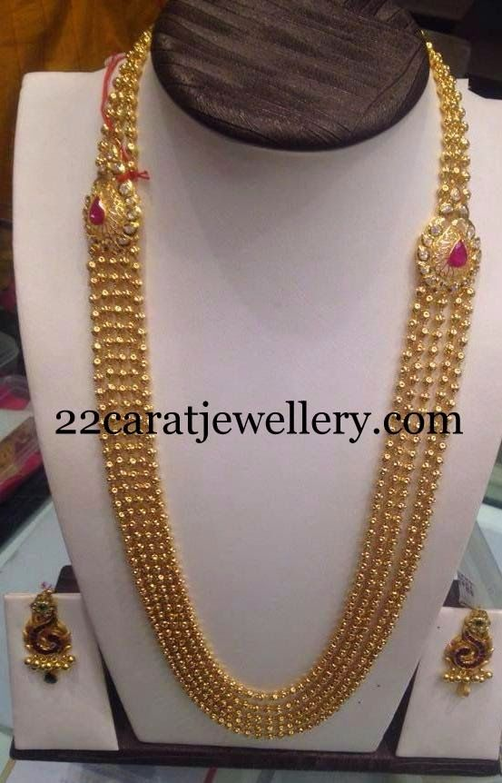 Jewellery Designs Small Balls Chandra Haram Gold Traditional