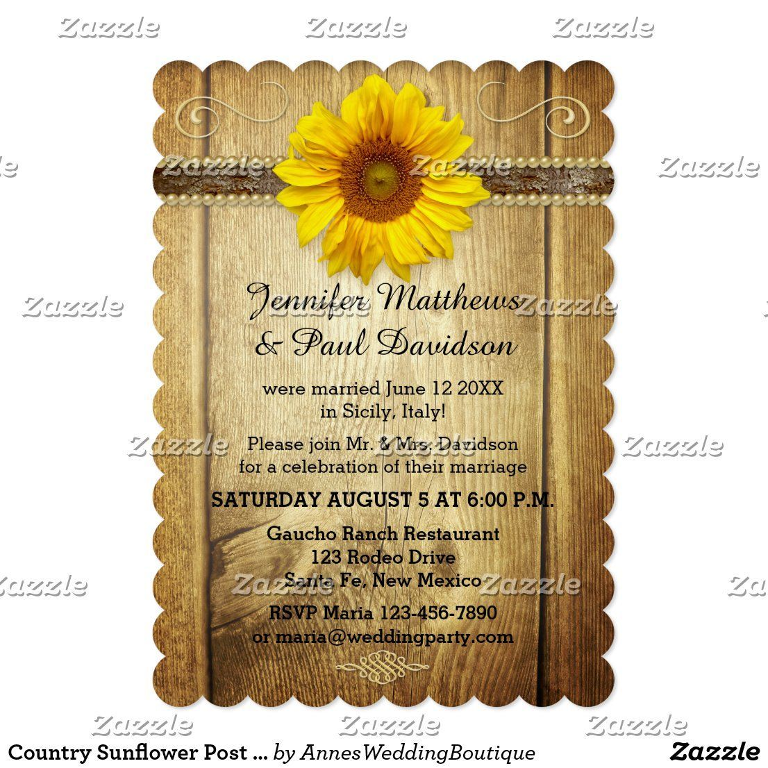 Country Sunflower Post Wedding Party Invitation in 2020