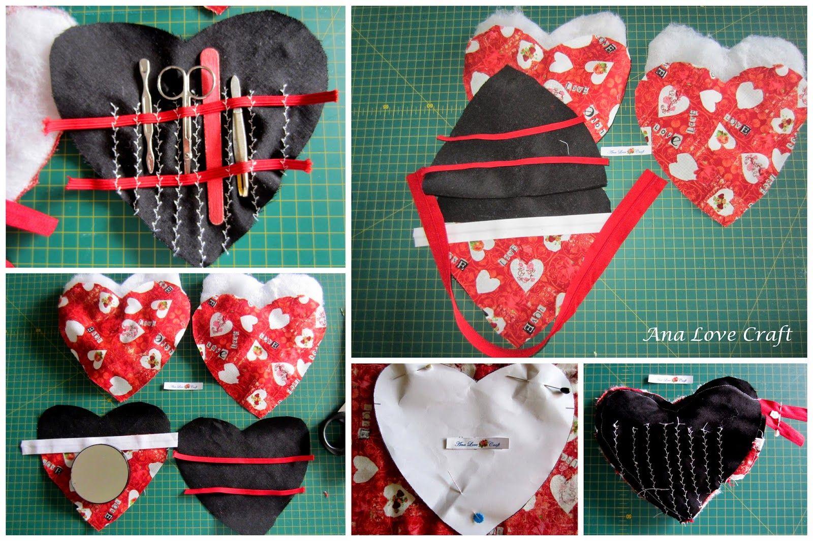 Ana Love Craft: BOLSA CORAÇÃO E TOALHA DE MÃOS - HEART POUCH AND HAND TOWEL