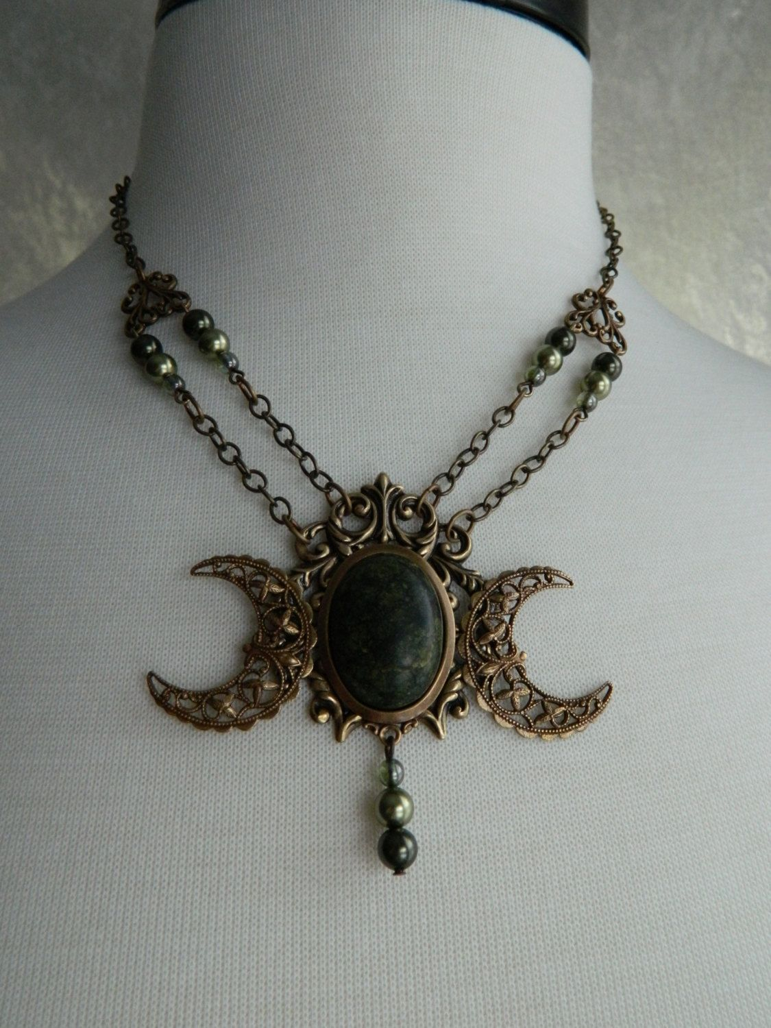 Green Goddess - Triple Moon Necklace Crow Haven