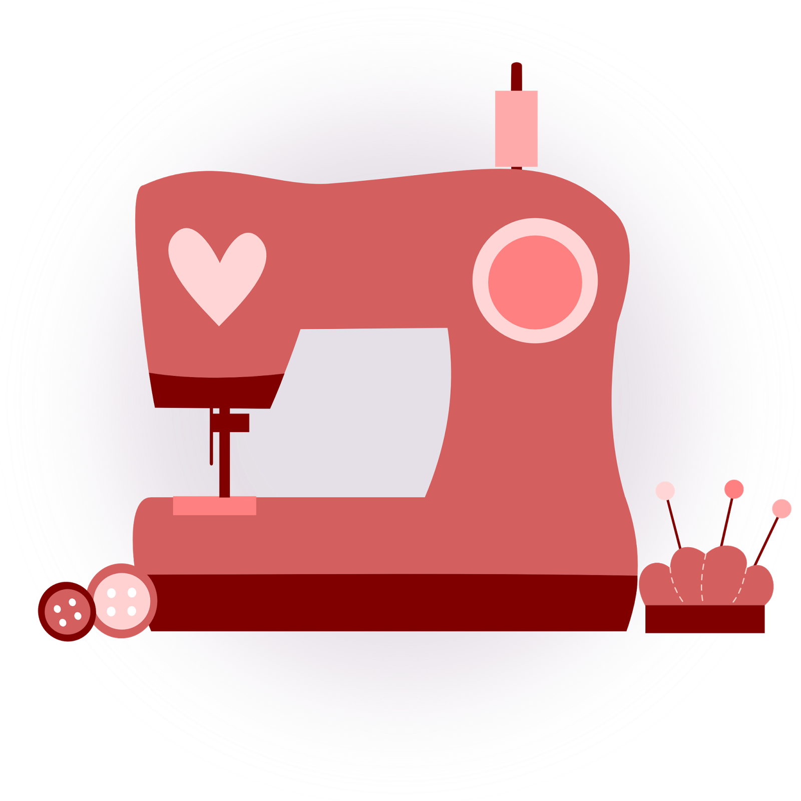 Inkscape clip art rosa coraz n dise o m quina coser for Arts and crafts sewing machine