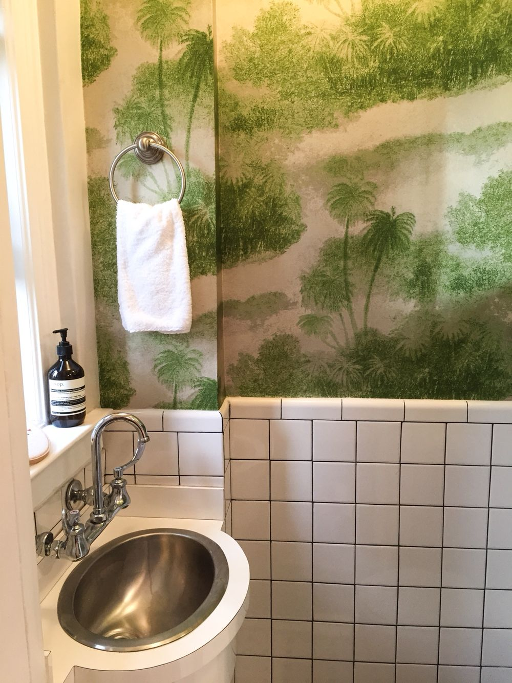 NYC Powder Room with California Vibes. #wallpaper #california #NYC #apartment